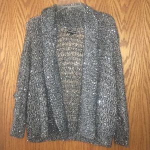 Express Large grey cardigan sweater with sequins